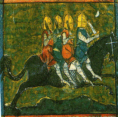 Miniature du cheval Bayard dans Paris, BnF, ms. fr. 766 folio 93r, du commencement du XIVe siècle